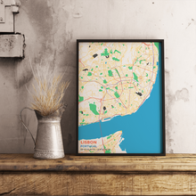 Premium Map Poster of Lisbon Portugal - Subtle Colorful - Unframed - Lisbon Map Art
