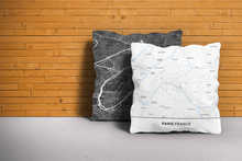 Map Throw Pillow of Paris France - Simple Ski Map