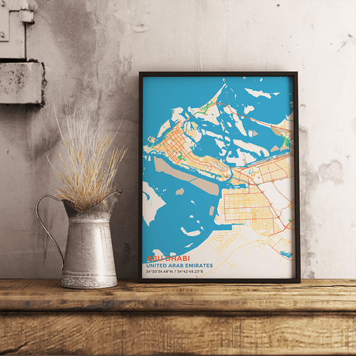 Premium Map Poster of Abu Dhabi United Arab Emirates - Subtle Colorful - Unframed - Abu Dhabi Map Art