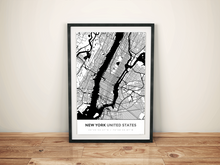 Premium Map Poster of New York United States - Simple Black Ink - Unframed