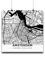 Premium Map Poster of Amsterdam Noord-Holland - Modern Black Ink - Unframed