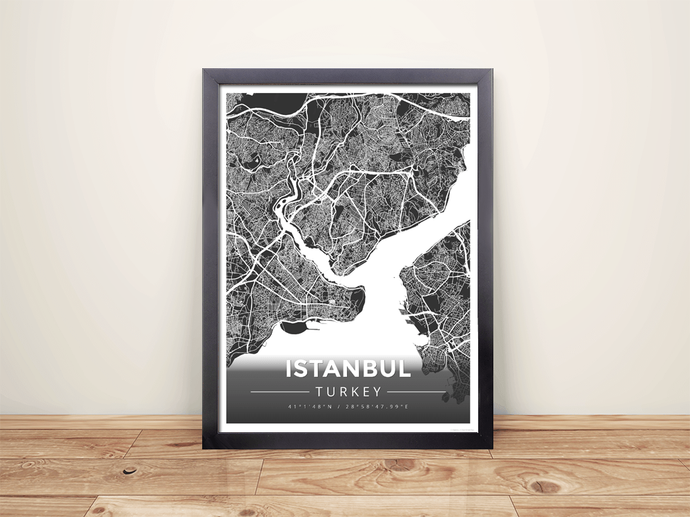 Framed Map Poster of Istanbul Turkey - Modern Contrast