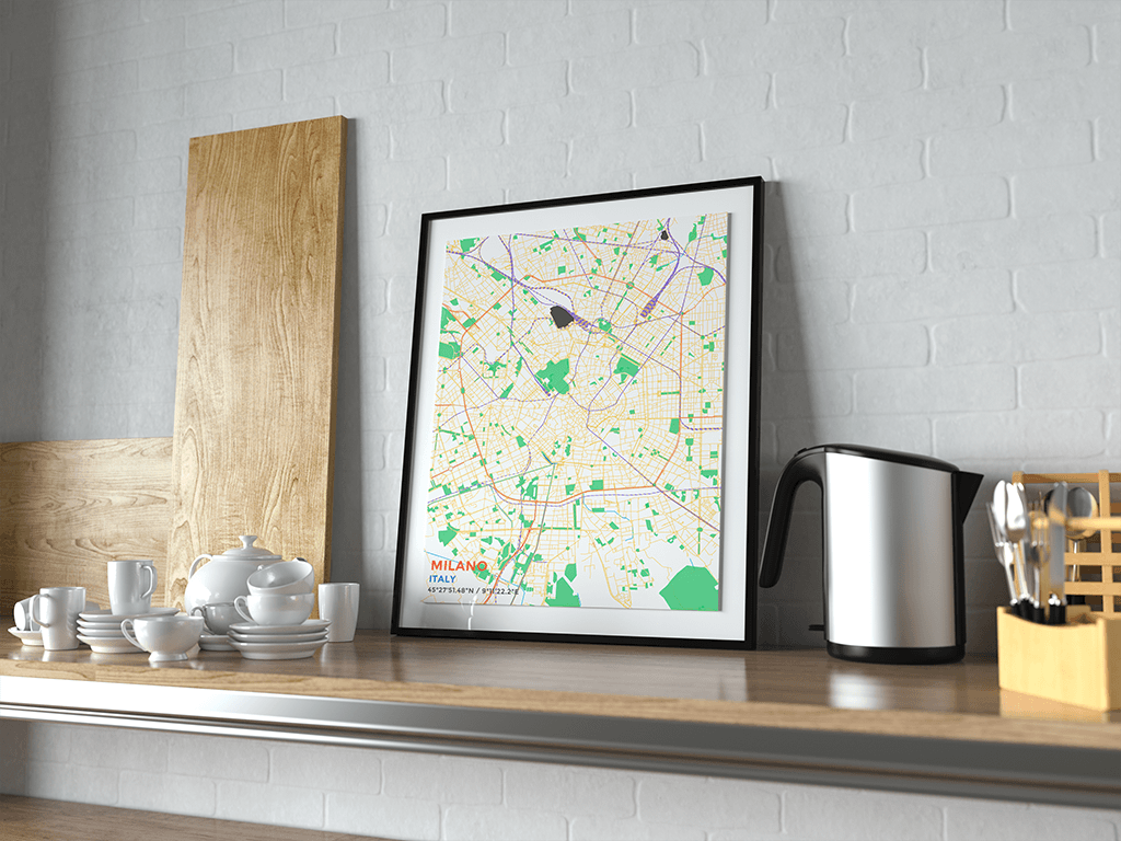 Premium Map Poster of Milano Italy - Subtle Colorful - Unframed