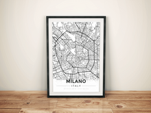 Premium Map Poster of Milano Italy - Modern Black Ink - Unframed