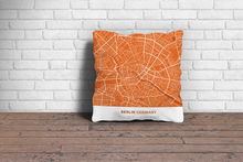 Map Throw Pillow of Berlin Germany - Simple Burnt - Berlin Map Art