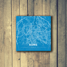 Gallery Wrapped Map Canvas of Rome Italy - Modern Blue Contrast