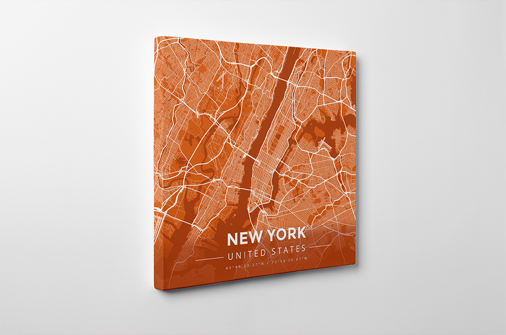 Gallery Wrapped Map Canvas of New York United States - Modern Burnt