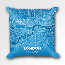 Map Throw Pillow of London England - Modern Blue Contrast