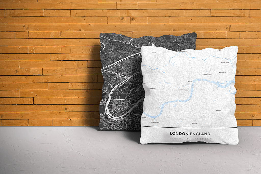 Map Throw Pillow of London England - Simple Ski Map