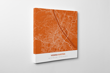 Gallery Wrapped Map Canvas of Vienna Austria - Simple Burnt