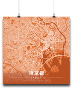 Premium Map Poster of Tokyo Japan - Modern Burnt - Unframed