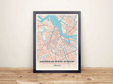 Framed Map Poster of Amsterdam Noord-Holland - Diner Retro - Amsterdam Map Art