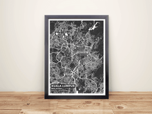 Framed Map Poster of Kuala Lumpur Malaysia - Subtle Contrast