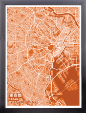 Framed Map Poster of Tokyo Japan - Subtle Burnt