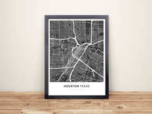Framed Map Poster of Houston Texas - Simple Contrast - Houston Map Art