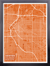 Framed Map Poster of Denver Colorado - Subtle Burnt - Denver Map Art