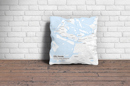 Map Throw Pillow of Abu Dhabi United Arab Emirates - Subtle Ski Map - Abu Dhabi Map Art