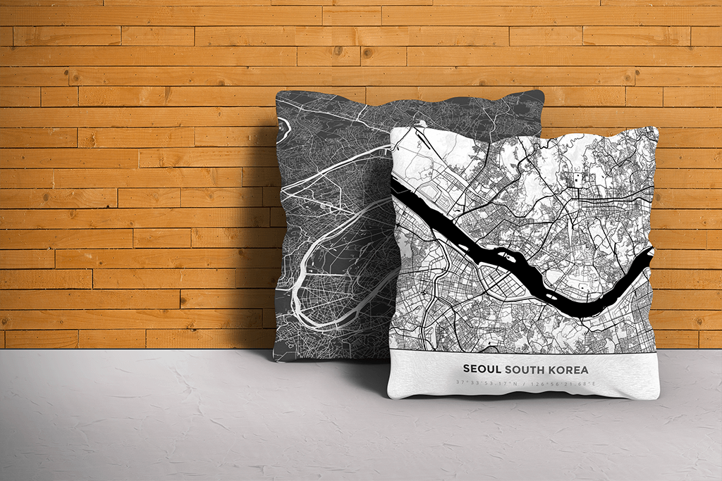 Map Throw Pillow of Seoul South Korea - Simple Black Ink