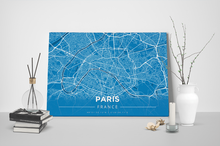 Gallery Wrapped Map Canvas of Paris France - Modern Blue Contrast