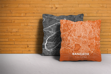 Map Throw Pillow of Bangkok Thailand - Modern Burnt