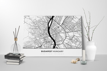 Gallery Wrapped Map Canvas of Budapest Hungary - Simple Black Ink - Budapest Map Art