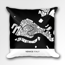 Map Throw Pillow of Venice Italy - Simple Black Ink - Venice Map Art