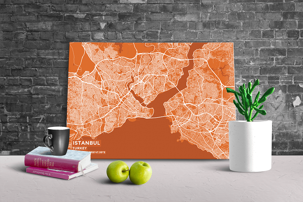 Gallery Wrapped Map Canvas of Istanbul Turkey - Subtle Burnt