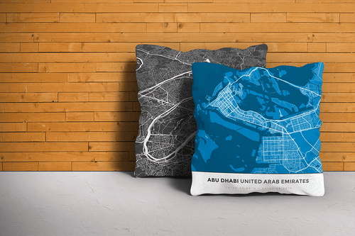 Map Throw Pillow of Abu Dhabi United Arab Emirates - Simple Blue Contrast - Abu Dhabi Map Art
