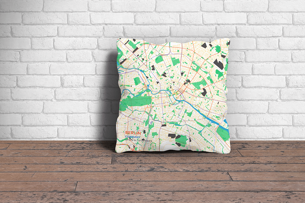 Map Throw Pillow of Berlin Germany - Subtle Colorful - Berlin Map Art