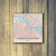 Gallery Wrapped Map Canvas of Amsterdam Noord-Holland - Diner Retro - Amsterdam Map Art