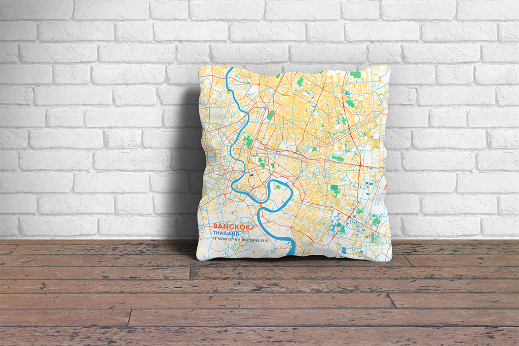 Map Throw Pillow of Bangkok Thailand - Subtle Colorful