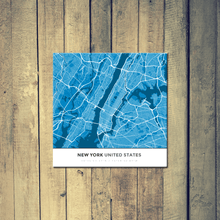 Gallery Wrapped Map Canvas of New York United States - Simple Blue Contrast