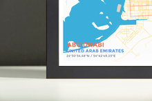Framed Map Poster of Abu Dhabi United Arab Emirates - Subtle Colorful - Abu Dhabi Map Art