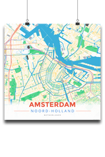 Premium Map Poster of Amsterdam Noord-Holland - Modern Colorful - Unframed