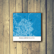 Gallery Wrapped Map Canvas of Kuala Lumpur Malaysia - Simple Blue Contrast
