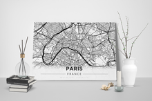 Gallery Wrapped Map Canvas of Paris France - Modern Black Ink