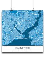 Premium Map Poster of Istanbul Turkey - Simple Blue Contrast - Unframed