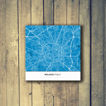 Gallery Wrapped Map Canvas of Milano Italy - Simple Blue Contrast