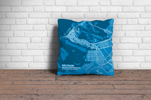 Map Throw Pillow of Abu Dhabi United Arab Emirates - Subtle Blue Contrast - Abu Dhabi Map Art