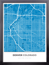 Framed Map Poster of Denver Colorado - Simple Blue Contrast - Denver Map Art