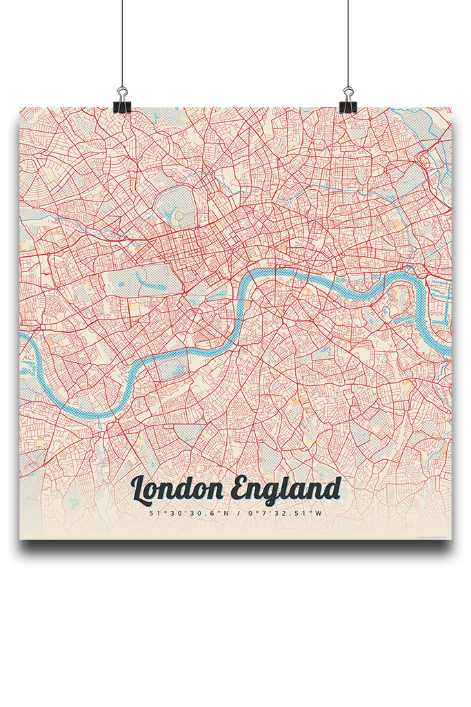 London In England Map.Premium Map Poster Of London England Lobster Retro Unframed London Map Art