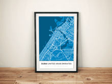 Premium Map Poster of Dubai United Arab Emirates - Simple Blue Contrast - Unframed