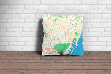 Map Throw Pillow of Barcelona Spain - Subtle Colorful
