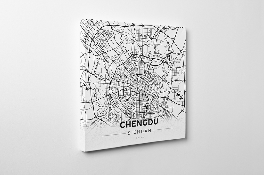 Gallery Wrapped Map Canvas of Chengdu Sichuan - Modern Black Ink - Chengdu Map Art