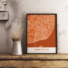 Premium Map Poster of Lisbon Portugal - Simple Burnt - Unframed - Lisbon Map Art