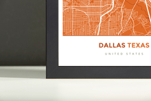 Framed Map Poster of Dallas Texas - Simple Burnt - Dallas Map Art