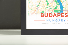 Framed Map Poster of Budapest Hungary - Modern Colorful - Budapest Map Art