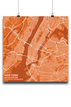 Premium Map Poster of New York United States - Subtle Burnt - Unframed