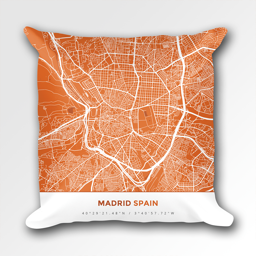 Map Throw Pillow of Madrid Spain - Simple Burnt - Madrid Map Art