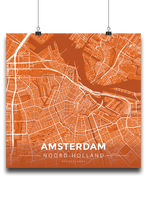 Premium Map Poster of Amsterdam Noord-Holland - Modern Burnt - Unframed
